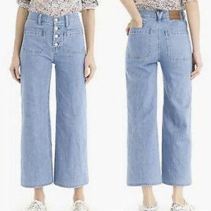 J. Crew Point Sur Wide Leg Crop Jeans: Light Wash